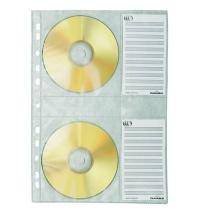 Файл-вкладыш А4 для CD-дисков Durable 4 кармана + 4 карточки на листе 5 шт/уп, 5222-19