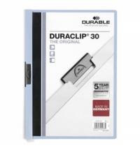 Пластиковая папка с клипом Durable Duraclip голубая А4, до 30 листов, 2200-06