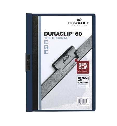 фото: Пластиковая папка с клипом Durable Duraclip синяя А4, до 60 листов, 2209-07