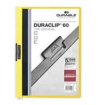 Пластиковая папка с клипом Durable Duraclip желтая А4, до 60 листов, 2209-04