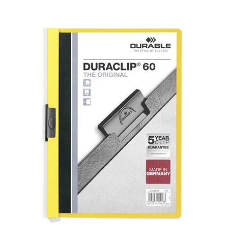 фото: Пластиковая папка с клипом Durable Duraclip желтая А4, до 60 листов, 2209-04