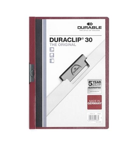 фото: Пластиковая папка с клипом Durable Duraclip темно-красная А4, до 60 листов, 2209-31