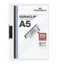 Пластиковая папка с клипом Durable Duraclip plus белая А5, до 30 листов, 2217-02
