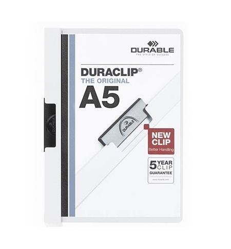 фото: Пластиковая папка с клипом Durable Duraclip plus белая А5, до 30 листов, 2217-02