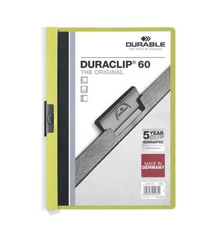 фото: Пластиковая папка с клипом Durable Duraclip зеленая А4, до 60 листов, 2209-05