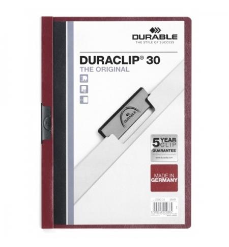 фото: Пластиковая папка с клипом Durable Duraclip А4, до 30 листов, темно-красная, 2200-31