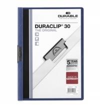Пластиковая папка с клипом Durable Duraclip А4, до 30 листов, синяя, 2200-07