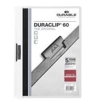 Пластиковая папка с клипом Durable Duraclip белая А4, до 60 листов, 2209-02