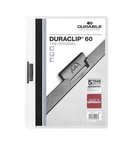 фото: Пластиковая папка с клипом Durable Duraclip белая А4, до 60 листов, 2209-02