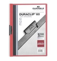 Пластиковая папка с клипом Durable Duraclip красная А4, до 60 листов, 2209-03