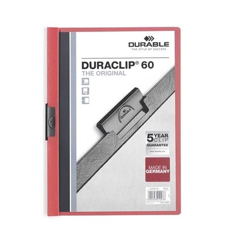 фото: Пластиковая папка с клипом Durable Duraclip красная А4, до 60 листов, 2209-03
