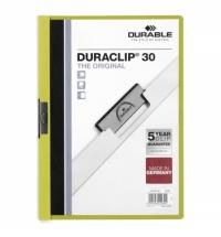 Пластиковая папка с клипом Durable Duraclip зеленая А4, до 30 листов, 2200-05