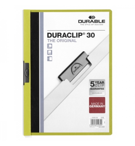 фото: Пластиковая папка с клипом Durable Duraclip зеленая А4, до 30 листов, 2200-05