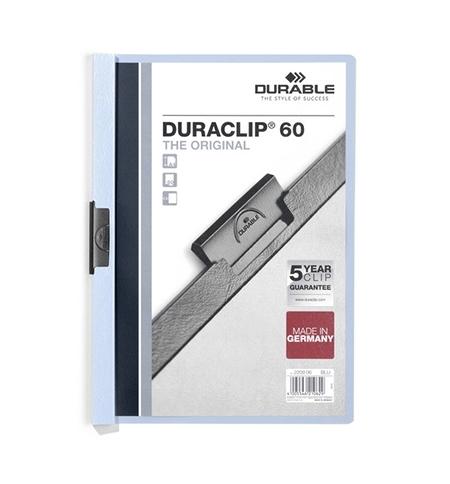 фото: Пластиковая папка с клипом Durable Duraclip голубая А4, до 60 листов, 2209-06