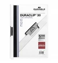 Пластиковая папка с клипом Durable Duraclip белая А4, до 30 листов, 2200-02