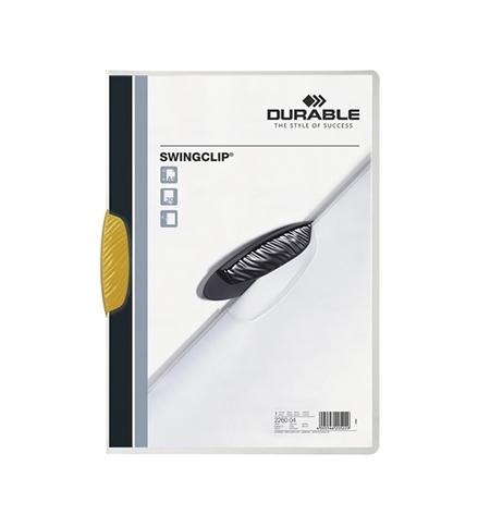 фото: Пластиковая папка с клипом Durable Swingclip желтая А4, до 30 листов, 2260-04