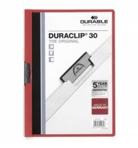 Пластиковая папка с клипом Durable Duraclip красная А4, до 30 листов, 2200-03