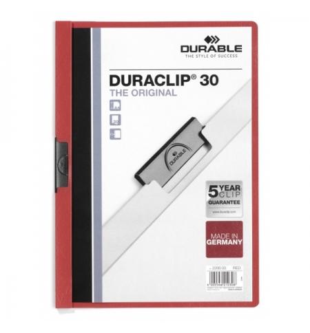 фото: Пластиковая папка с клипом Durable Duraclip красная А4, до 30 листов, 2200-03