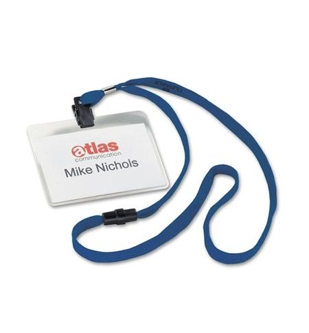 фото: Бейдж на зажиме с тесьмой Durable 60х90мм 10шт/уп, синяя тесьма, 8139-07
