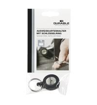 Держатель-рулетка для бейджа Durable с клипом черный, 80см, на кольце, 8227-58