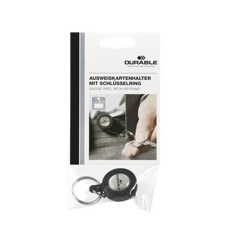 фото: Держатель-рулетка для бейджа Durable с клипом черный, 80см, на кольце, 8227-58
