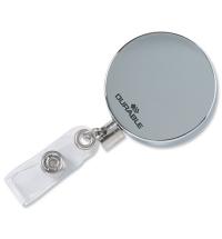 Держатель-рулетка для бейджа Durable с клипом хром, 80см, на кнопке, 10шт/уп