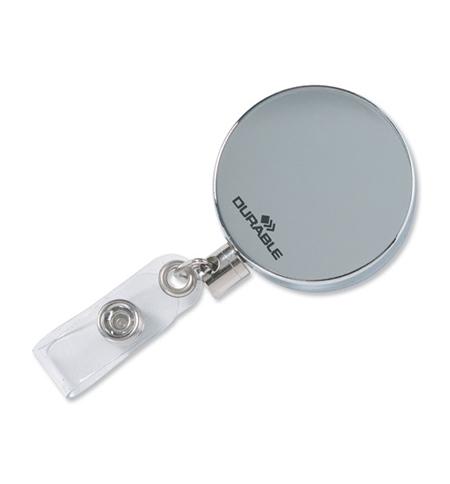 фото: Держатель-рулетка для бейджа Durable с клипом хром, 80см, на кнопке, 10шт/уп