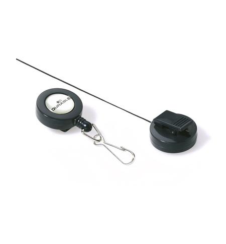 фото: Держатель-рулетка для бейджа Durable с клипом темно-серый, 60см, на карабине, 10 шт/уп, 8221-58
