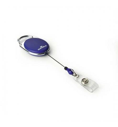 фото: Держатель-рулетка для бейджа Durable с клипом 80см, на кнопке, 10 шт/уп, синий, 8324-07
