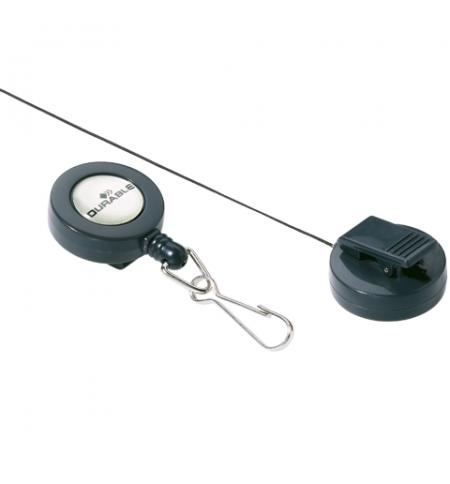 фото: Держатель-рулетка для бейджа Durable на клипсе темно-серая, с карабином, 10шт/уп