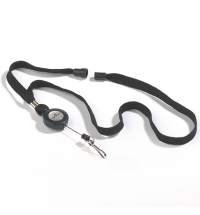 Держатель-рулетка для бейджа Durable с клипом черный, 60см, на карабине, 10шт/уп