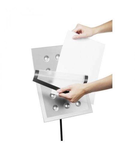 фото: Стенд напольный Durable А4 серебристый, с рамкой