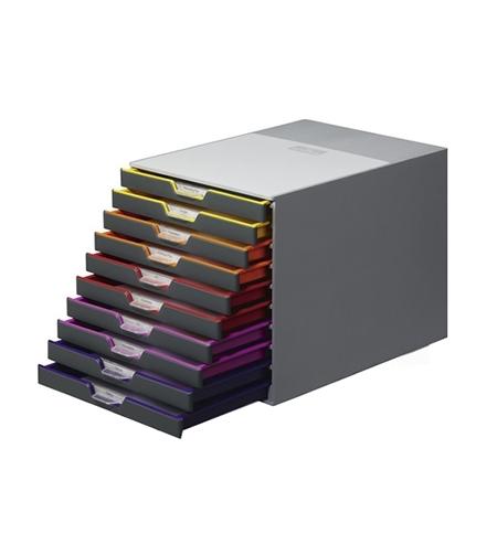 фото: Бокс для бумаг Durable Varicolor 280х295х350мм 10 ящиков, серый, 7610-27