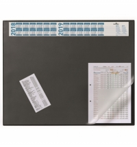 Коврик настольный для письма Durable 52х65см с карманом и календарем, черный, 7204-01