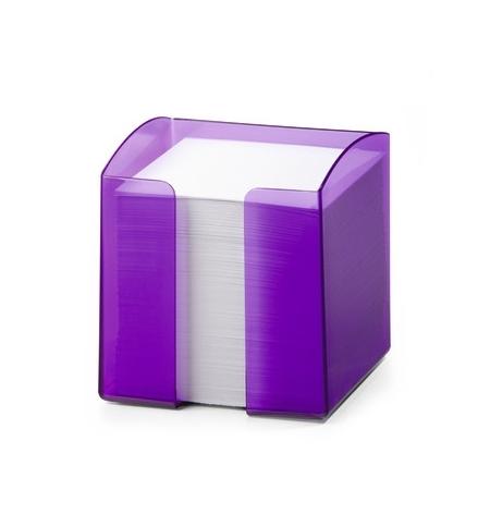 фото: Блок для записей непроклеенный в подставке Durable Trend белый в фиолетовом боксе 90х90мм, 800 листов