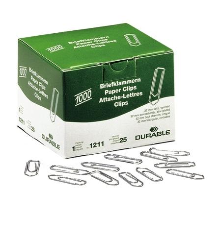 фото: Скрепки канцелярские Durable 32мм стрелка, оцинкованные, 1000шт/уп, 1211-25