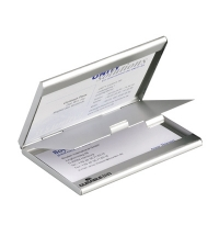 Визитница Durable Business Card Box Duo на 20 визиток серебристая, металл, 2433-23