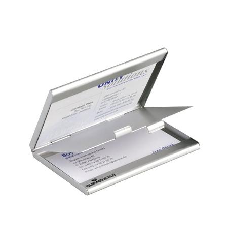 фото: Визитница Durable Business Card Box Duo на 20 визиток серебристая, металл, 2433-23