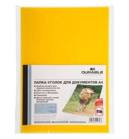 фото: Папка-уголок Durable желтая, А4, 180мкм, 10шт/уп, 219704