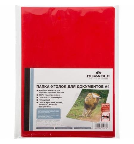 фото: Папка-уголок Durable красная, А4, 180мкм, 10шт/уп, 219703