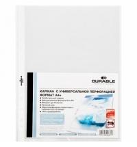 Файл-вкладыш А4+ Durable прозрачный, с перфорацией, 45мкм, 10 шт/уп, гладкий, 2643-19