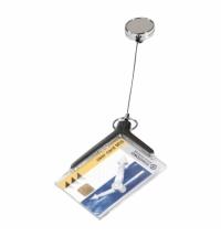 Держатель-рулетка для бейджа Durable Card Holder Deluxe Pro с клипом, металлик, 80см, 10шт/уп