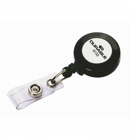 фото: Держатель-рулетка для бейджа Durable с клипом, темно-серый, 80см, на кнопке, 10 шт/уп, 8152-58